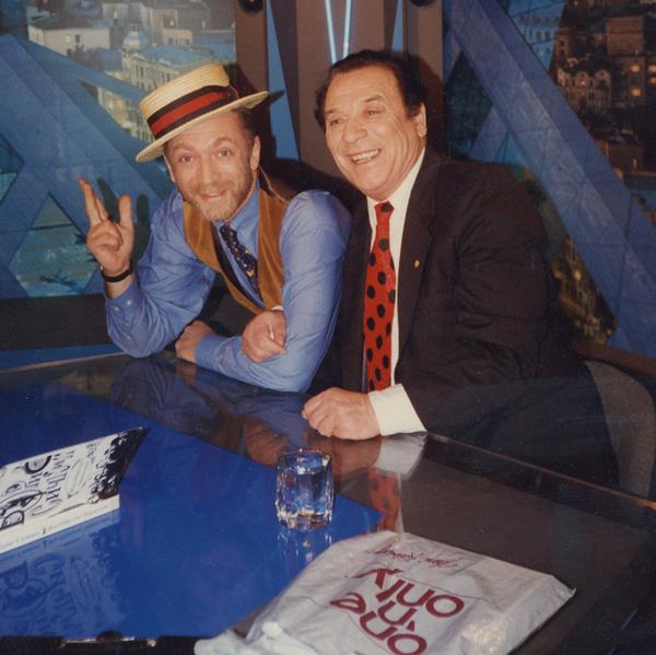 """На съёмках программы """"Час пик"""" с Андреем Разбашем, Москва, 1995 г."""